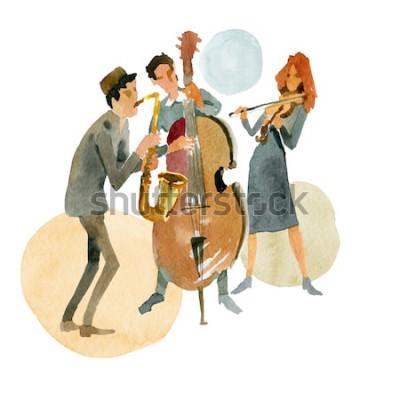 Poster Ilustração em aquarela. Trio de jazz instrumental composto por contrabaixo, violino e saxofone