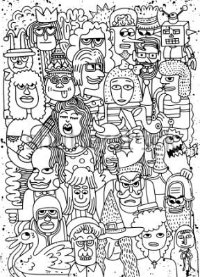 Poster Ilustração em vetor de Cartoon faces multidão doodle desenhado à mão padrão, estilo doodle