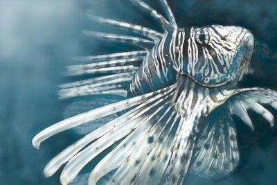 Poster Ilustração feita com um comprimido de peixe escorpião digitais perigoso,