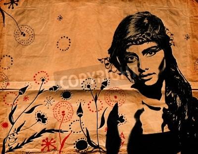 Poster ilustração forma graffiti de uma bela mulher com cabelos longos na textura de papel, com efeitos grunge