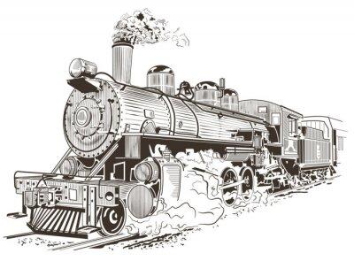 Poster ilustração locomotiva a vapor no estilo do vintage