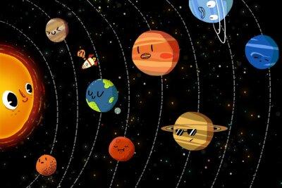 Poster Ilustração para crianças: Os planetas felizes no sistema solar. Arte finala fantástica realística do estilo dos desenhos animados / história / cena / papel de parede / fundo / projeto de cartão.