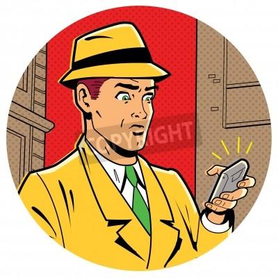 Poster Ilustração Satirical irônico de uma retro clássico Comics homem com um Fedora e um smartphone moderno