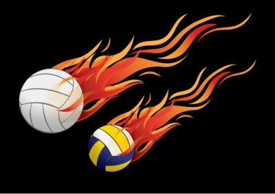 Poster ilustração vetorial esporte fogo vôlei