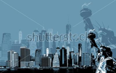 Poster Imagem abstrata de manhattan. Símbolos de Nova York. Skyline de Manhattan e a estátua da liberdade NYC. Arte contemporânea e estilo de cartaz em azul