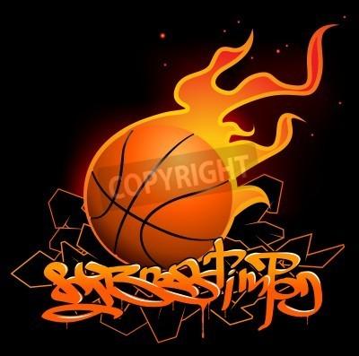 Poster Imagem de graffiti Basketball