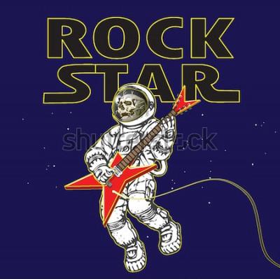 Poster imagem vetorial de um astronauta na imagem de um músico de rock no espaço sideral no estilo de gráficos de desenho animado