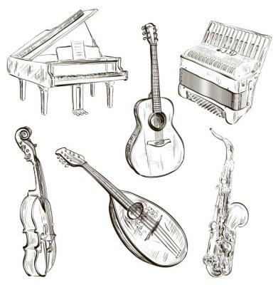 Poster instrumentos musicais em estilo de desenho