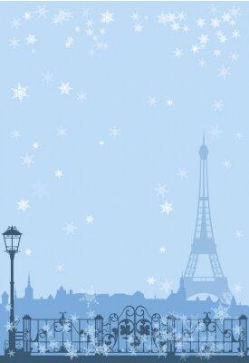 Poster inverno Paris fundo