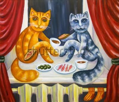 Poster Jantar de gato romântico. Um gato e uma gata jantam juntos no parapeito da janela. Animais de estimação no interior do apartamento. Pintura a óleo. Arte artesanal.