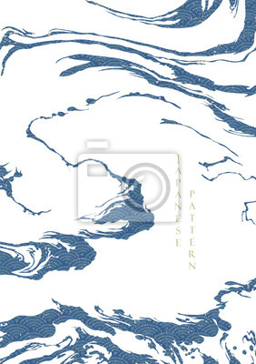 Poster Japanese wave pattern with abstract shape vector. Blue ocean background with grunge texture. Wave hand drawn elements.