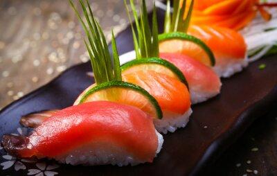 Poster Japonês, salmão, atum, sushi, molho, closeup