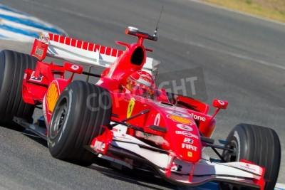 Poster JEREZ DE LA FRONTERA, ESPANHA - 11 de outubro: Michael Schumacher de Scuderia Ferrari F1 em 11 de outubro de 2006 na sessão de treino em Jerez de la Frontera, Espanha