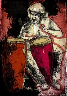 Poster jogador conga - uma ilustração desenhada mão