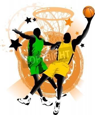 Poster jogador de basquete no fundo de anéis de basquetebol (vetor);