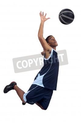 Poster Jogador de basquetebol isolado no branco