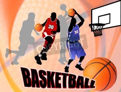Poster Jogadores de ação de basquete no fundo abstrato bonito. Basquete clássico poster Ilustração