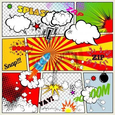 Poster Jogo de elementos retros do livro em quadrinhos Vector Design, discurso e do pensamento Bolhas