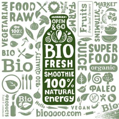 Poster Jogo de etiquetas orgânicos e naturais bio ícones para produtos alimentares