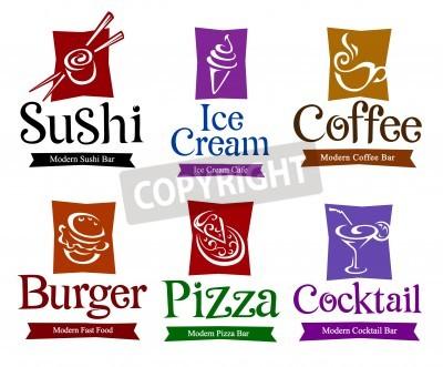 Poster Jogo de símbolos do vetor e títulos para seu projeto comida e bebida.