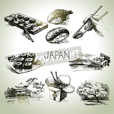 Poster Jogo desenhado mão do japonês do vintage