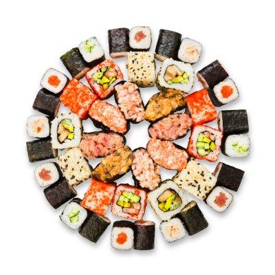 Poster Jogo do sushi, maki e rolos isolado no branco