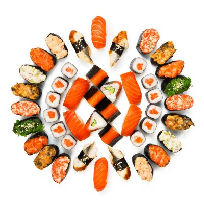 Poster Jogo do sushi, maki, gunkan e rolos isolado no branco