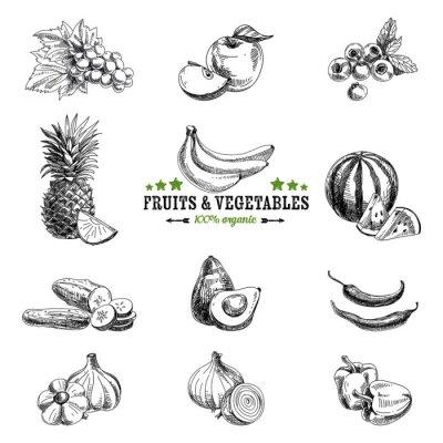 Poster Jogo do vetor de frutas e legumes.