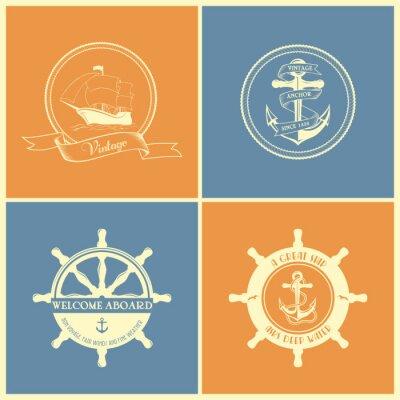 Poster Jogo Do Vintage Retro Badges náuticas E etiquetas
