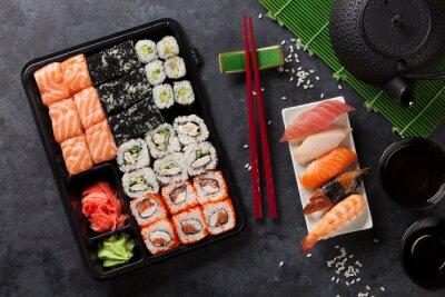 Poster Jogo, sushi, maki, rolo, verde, chá