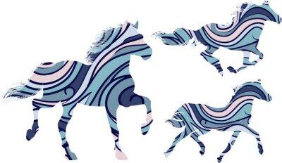Poster Jogo, três, azul, Padrão, silhuetas, Executando, cavalos