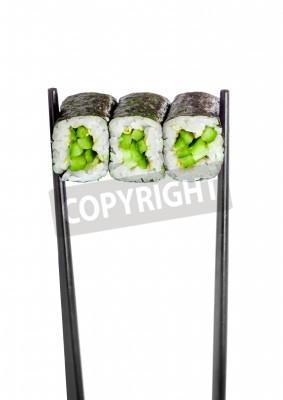 Poster Kappa rolo maki. Rolo de sushi em um fundo branco