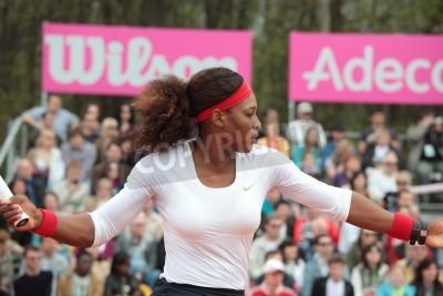 Poster KHARKOV, UKRAINE - APRIL 21, 2012  Match between Serena Williams and Elina Svitolina during Fed Cup tie between USA and Ukraine in Superior Golf   Spa Resort, Kharkov, Ukraine at April 21, 2012