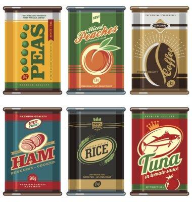 Poster Latas de comida vintage
