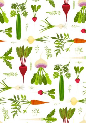 Poster Leafy Vegetables and Greens Seamless Pattern Background