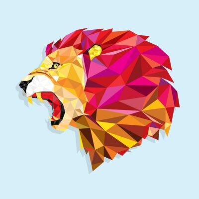 Poster Leão irritado com pattern- geométrico ilustração vetorial