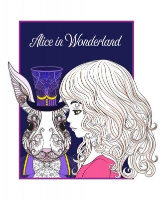 Poster Lebre ou coelho no chapéu do conto de fadas Alice in Wonderla