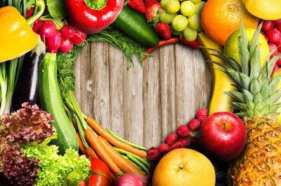 Poster Legumes e frutas Heart Shaped
