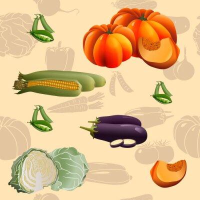 Poster Legumes padrão sem emenda: milho, abóbora