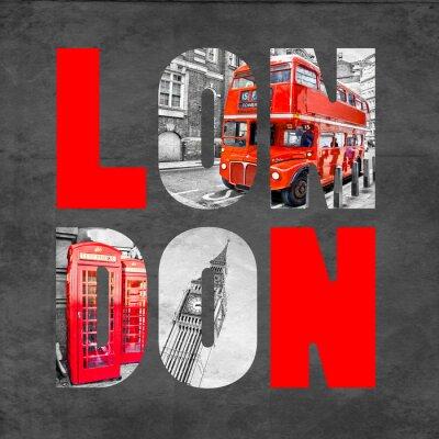 Poster Letras de Londres com imagens no fundo preto