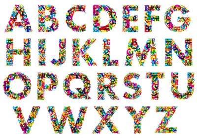Poster Letras do alfabeto coloridos maiúsculas