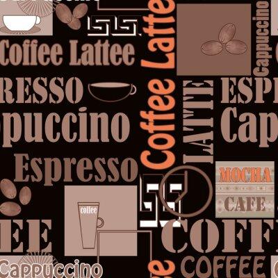 Poster Lettering, café, ícones, seamless, Padrão, retro, fundo