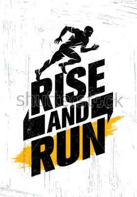 Poster Levante-se e corra. Conceito do cartaz das citações da motivação do evento esportivo da maratona. Estilo de vida ativo tipografia ilustração em fundo Grunge com textura