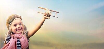Poster Liberdade, sonho - alegre, criança, tocando, avião, contra, céu