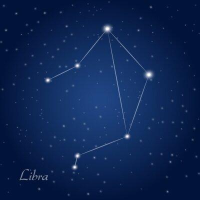 Poster Libra sinal da constelação do zodíaco no céu nocturno estrelado
