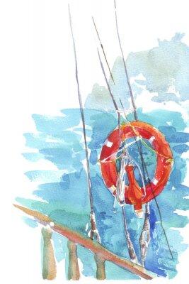 Poster Lifebuoy oceano mar aguarela ilustração