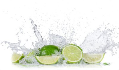 Poster Limes with water splash