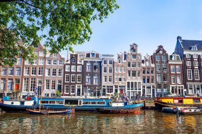 Poster Linda vista para canais de Amesterdão, com ponte e típico holandês