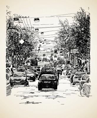 Poster line art empate mão composição trânsito da cidade