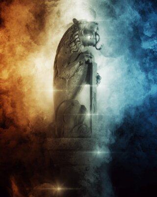 Poster Lion Head Statue between dark wave painting